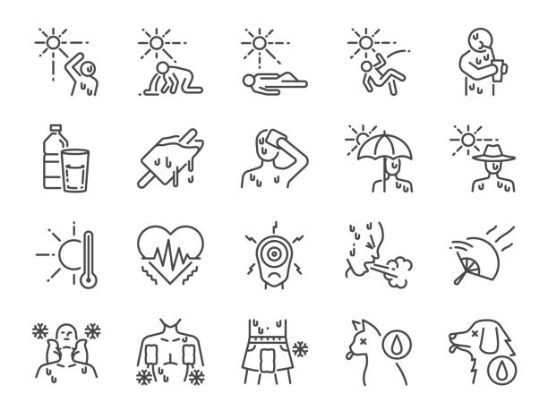Heatstroke line icon set. Included icons as heat, stroke, faint, hot, sick, summer and more. Heatstroke line icon set. Included icons as heat, stroke, faint, hot, sick, summer and more. relief emotion stock illustrations
