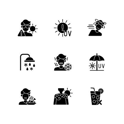Heatstroke risk during summer black glyph icons