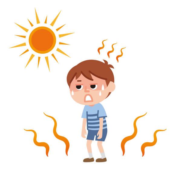 heatstroke Child who seems to suffer from heat stroke heat wave stock illustrations