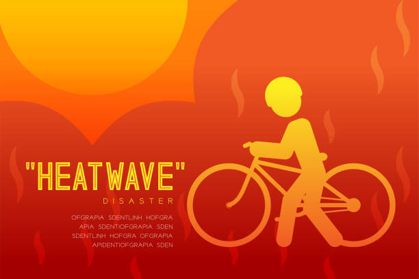 Heatwave Disaster of man icon pictogram with bicycle design infographic illustration isolated on orange red gradient background, with copy space Heatwave Disaster of man icon pictogram with bicycle design infographic illustration isolated on orange red gradient background, with copy space heat wave stock illustrations