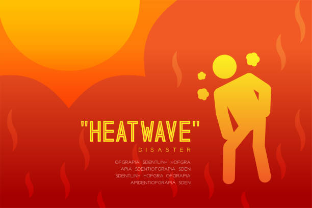 Heatwave Disaster of thirsty man icon pictogram design infographic illustration isolated on orange red gradient background, with copy space Heatwave Disaster of thirsty man icon pictogram design infographic illustration isolated on orange red gradient background, with copy space heat wave stock illustrations
