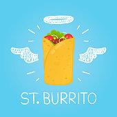 """Heaven burrito concept """"St. burrito"""" with angel"""
