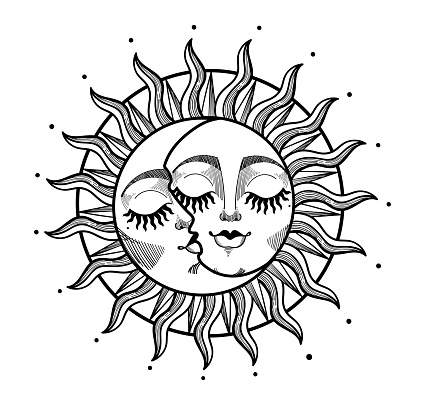 Heavenly sun and crescent moon with face, hand drawn engraving graphic stylization. Astrological vector illustration for witch, witchcraft, zodiac and horoscope. Vintage design.