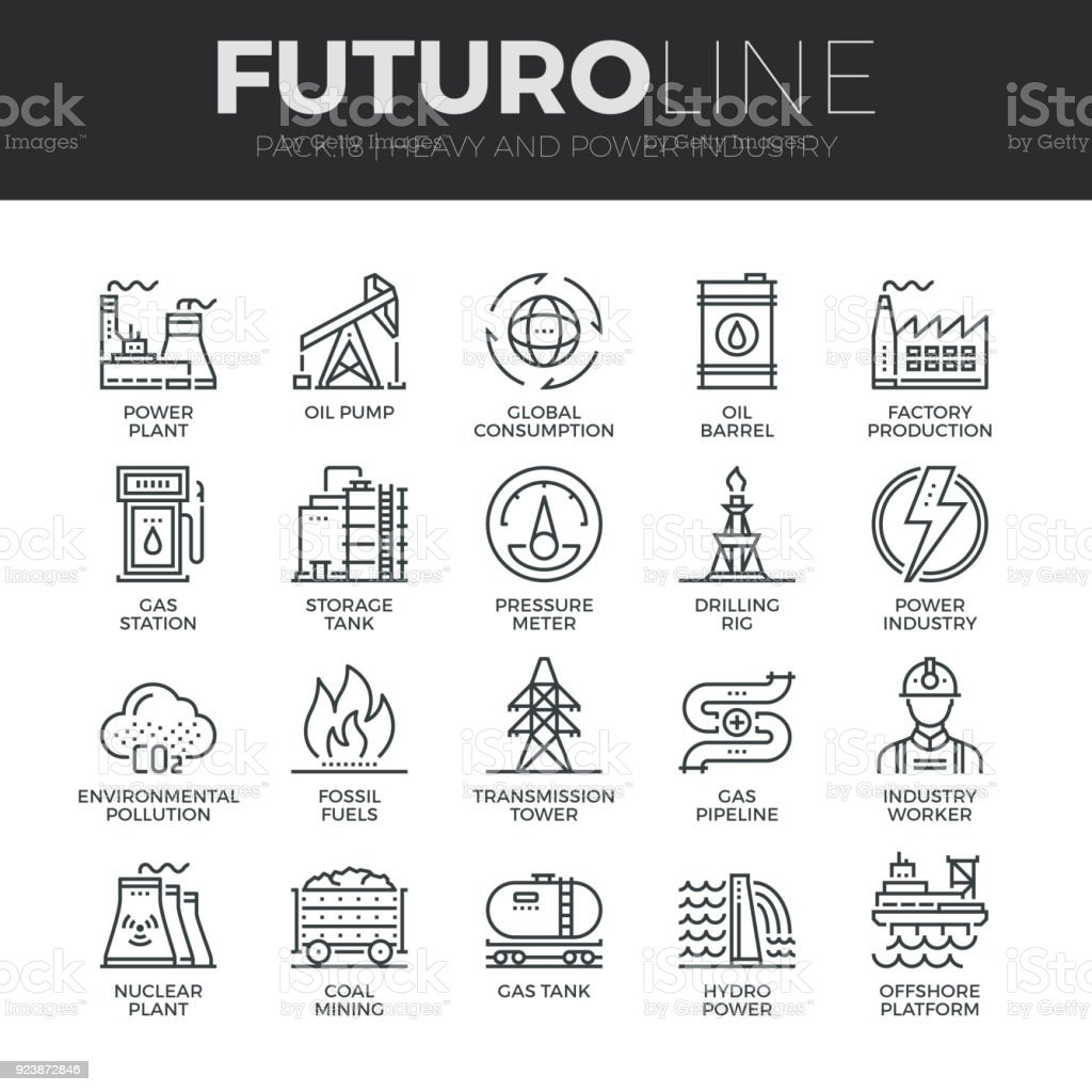 Heavy and Power Industry Futuro Line Icons Set