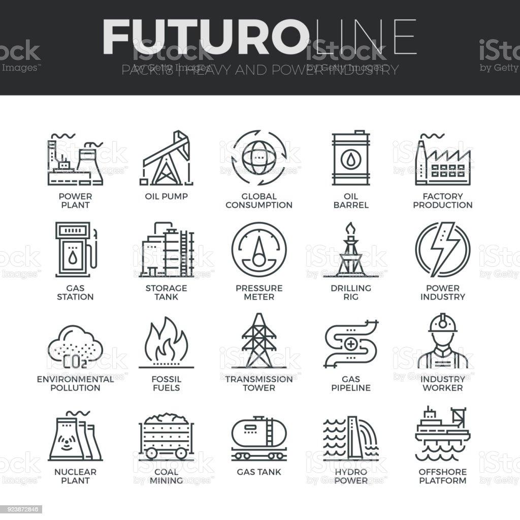 Industria pesada y de la energía línea de Futuro Icons Set - ilustración de arte vectorial