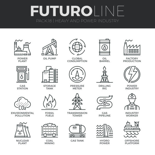 illustrazioni stock, clip art, cartoni animati e icone di tendenza di heavy and power industry futuro line icons set - reattore nucleare