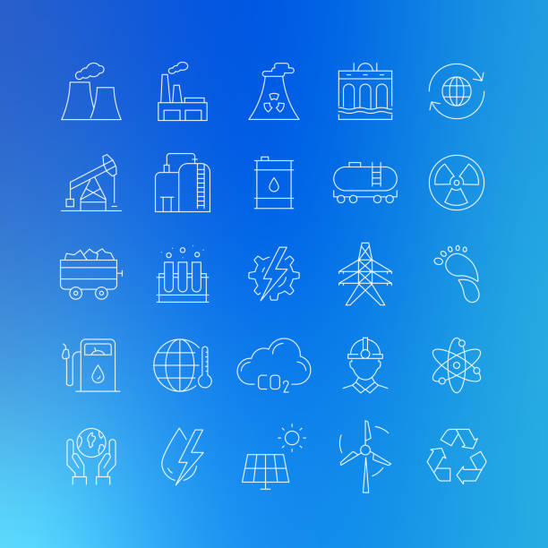 illustrazioni stock, clip art, cartoni animati e icone di tendenza di heavy and power industry related vector line icons - editable stroke - reattore nucleare