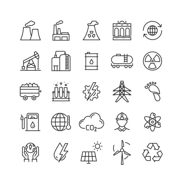 ikony linii wektorowych związanych z przemysłem ciężkim i energetycznym - produkować stock illustrations