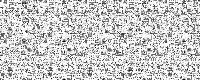Heavy and Power Industry Seamless Pattern and Background with Line Icons