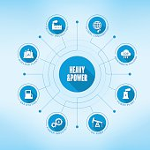 Heavy and Power chart with keywords and icons. Flat design with long shadows