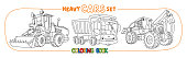 Heavy big cars transport coloring book set