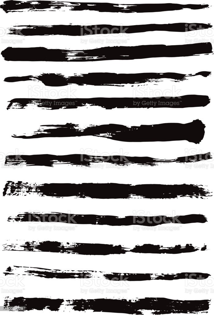 Heavy Brush Strokes Isolated On White Stok Vektor Sanati 12