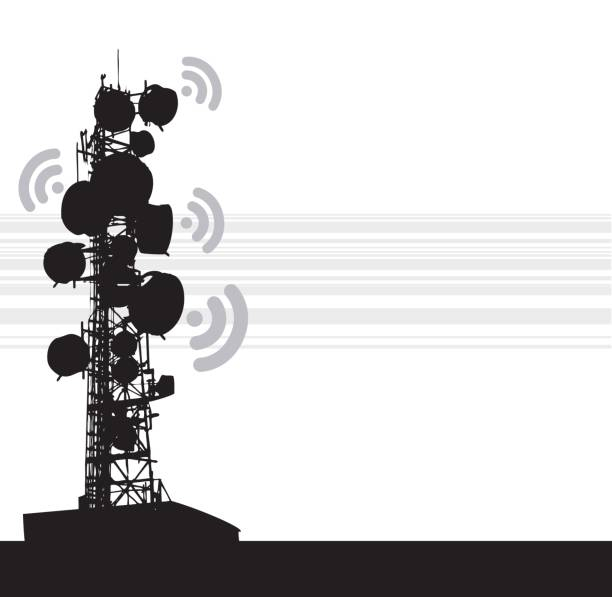 Heavy Communication Tower A vector silhouette illustration of a radio tower with wifi symbols coming from the satelite dishes and a striped pattern in the background. repeater tower stock illustrations