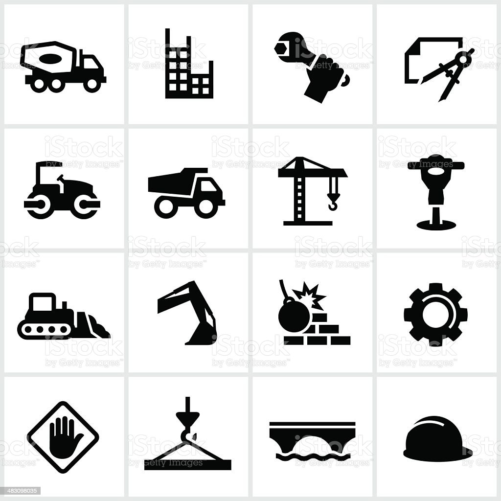 Heavy Construction Icons vector art illustration