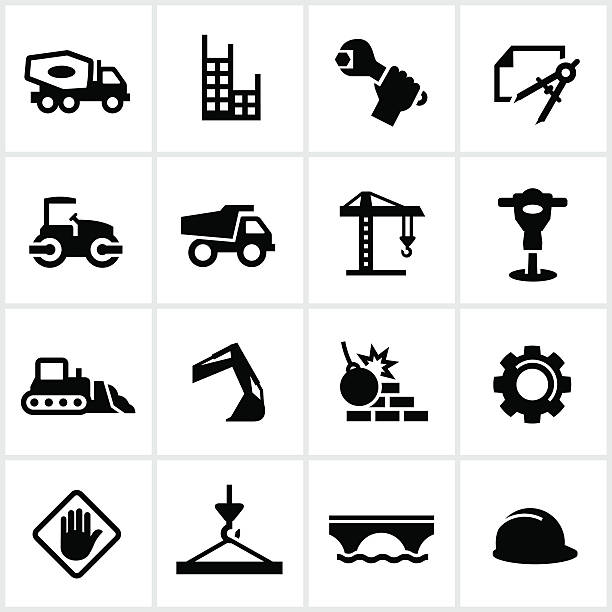 Heavy Construction Icons Black heavy construction icons including a cement truck, dump truck, crane, bulldozer, and other heavy equipment related tools and machinery. demolished stock illustrations