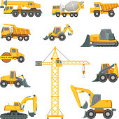 Heavy construction machines. Excavator, bulldozer and other technique. Vector illustrations in cartoon style