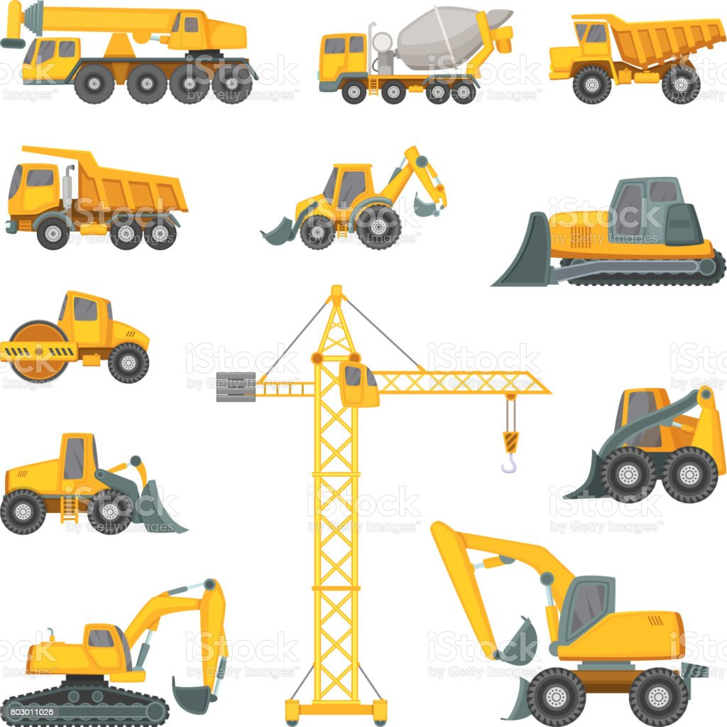 Heavy construction machines. Excavator, bulldozer and other technique. Vector illustrations in cartoon style vector art illustration