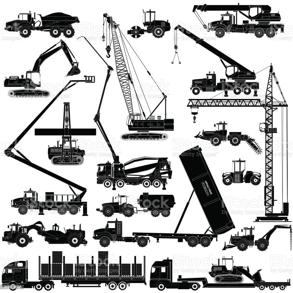 Heavy construction machines icons, silhouettes on white background. Vector vector art illustration