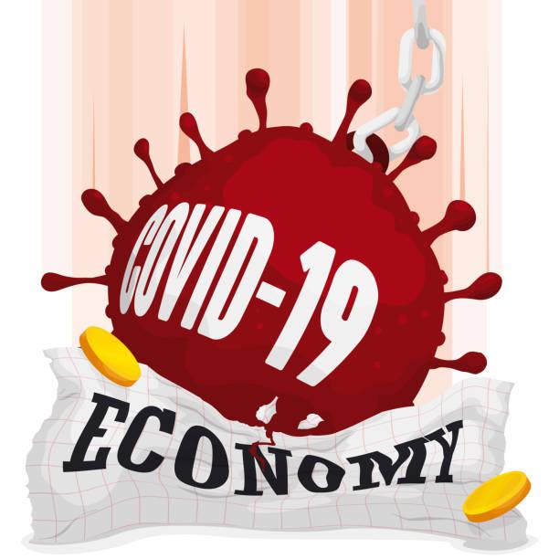 stockillustraties, clipart, cartoons en iconen met zware coronavirus vorm die over economie valt die covid-19 crisis symboliseert - tears corona