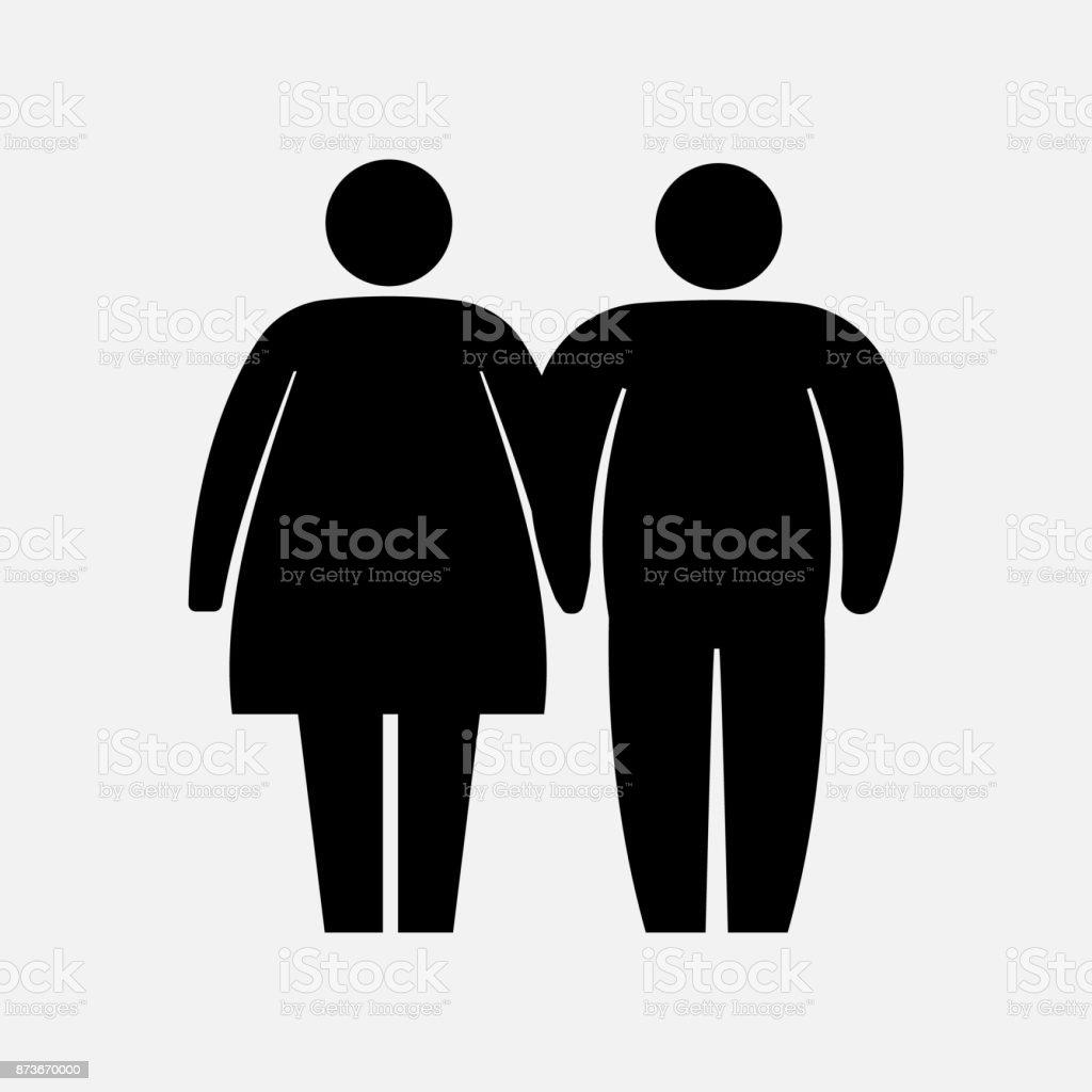 Heavy Couple Icon. Fat Family Icon. Husband and wife logo. Vector illustration. vector art illustration