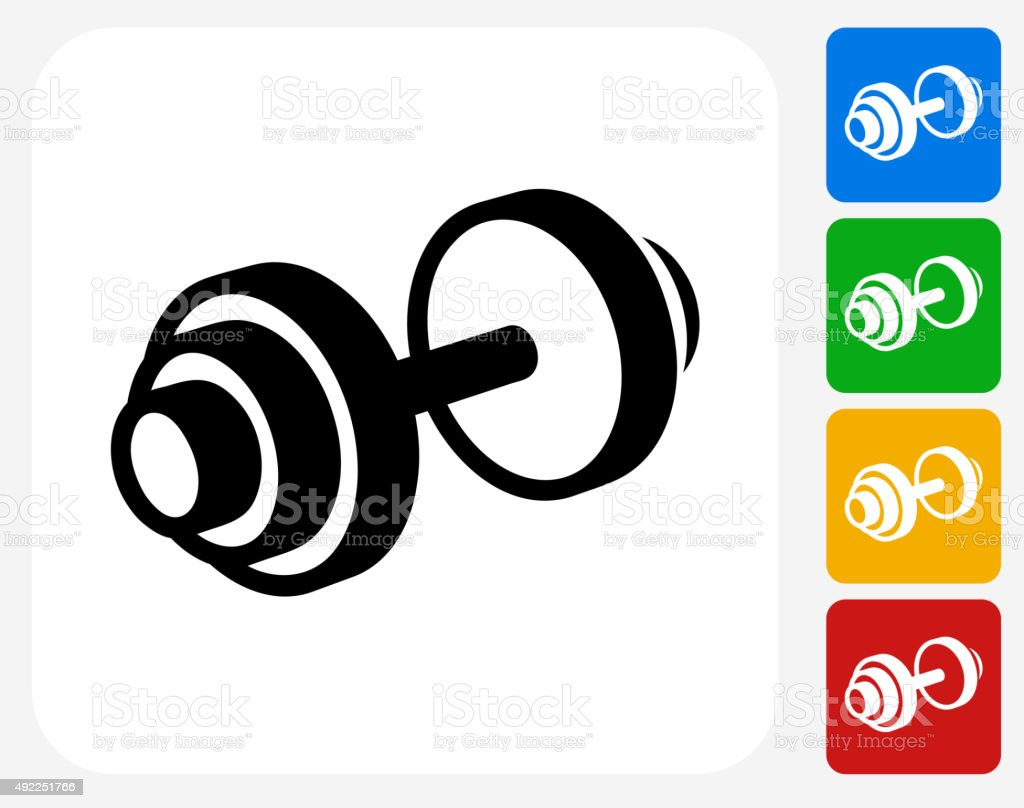 heavy dumbbell icon flat graphic design stock vector art 492251766