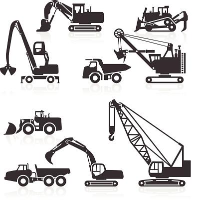 Heavy duty construction vehicles icons