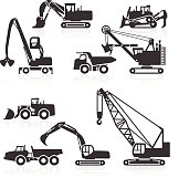 Heavy duty construction vehicles icons. Includes large bulldozer, dumper truck, dragline, electric rope shovel, excavators, excavators, mining shovels, material handlers, clamshell bucket grab, crawler crane, mining trucks, and wheel loaders. Layered & grouped for ease of use. Download includes EPS 8, EPS 10 and high resolution JPEG & PNG files.