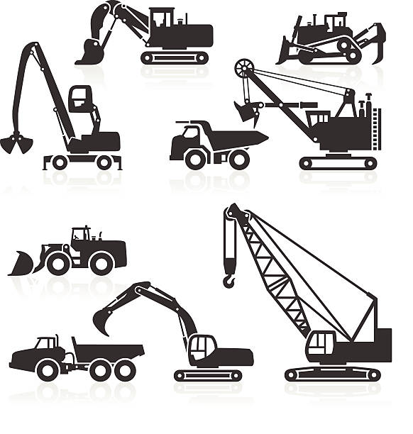 stockillustraties, clipart, cartoons en iconen met heavy duty construction vehicles icons - shovel
