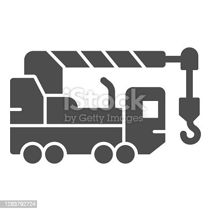 istock Heavy duty truck solid icon, heavy equipment concept, crane truck sign on white background, equipment for construction icon in glyph style for mobile concept, web design. Vector graphics. 1283792724