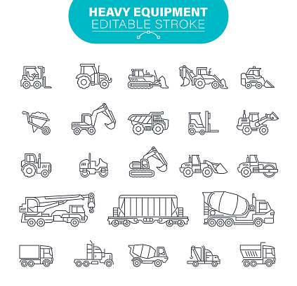 Heavy Equipment Icons. Editable Stroke. In set icons as construction, mining machines, tractors, illustration