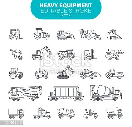 Truck, Working, Earth Mover, Dump Truck, Equipment, Outline, Machine, USA, Outline Icon Set