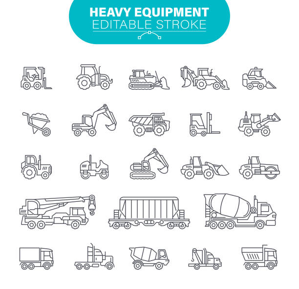 Heavy Equipment Icons. Editable Stroke. In set icons as construction, mining machines, tractors, illustration vector art illustration