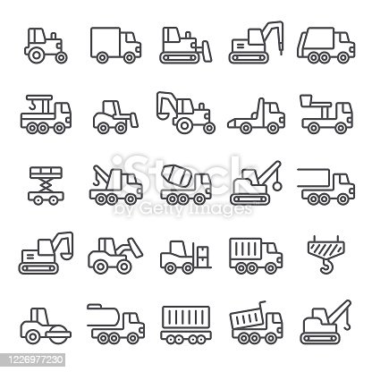 Construction, heavy equipment, truck, earth mover, icon, icon set, vehicle, bulldozer
