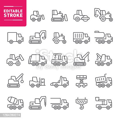 Construction, heavy equipment, truck, earth mover, icon, icon set, editable stroke, outline, vehicle, bulldozer