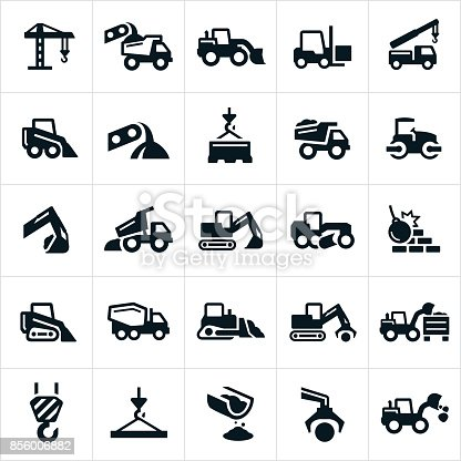 An icon set of heavy equipment such as cranes, dump trucks, excavator, fork lift, loader, grader, wrecking ball, cement truck and bulldozer to name a few.
