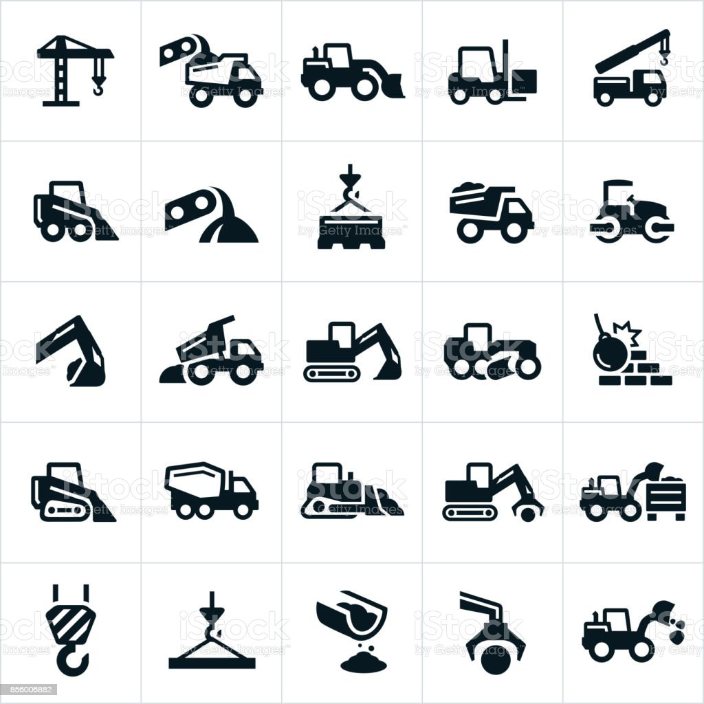 Heavy Equipment Icons vector art illustration
