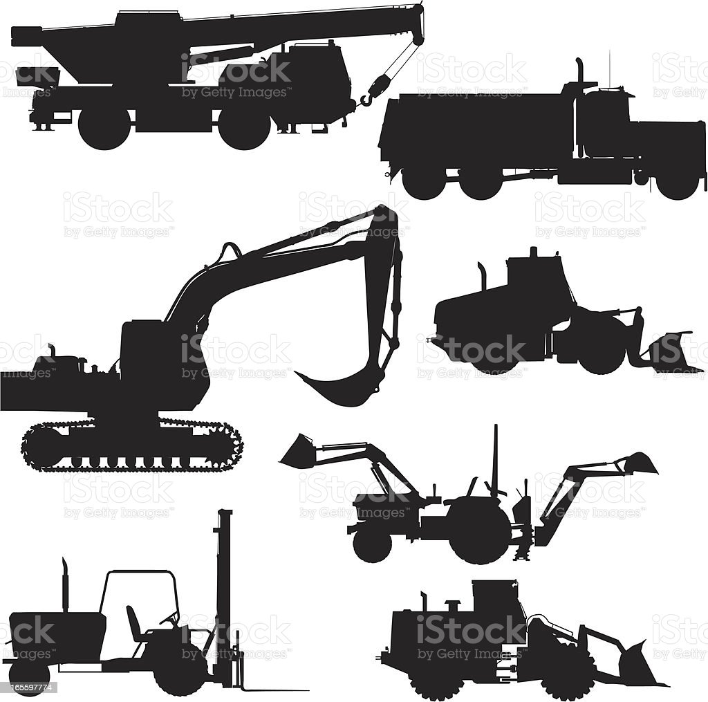 Heavy Equipment Silhouette Collection royalty-free heavy equipment silhouette collection stock vector art & more images of black color