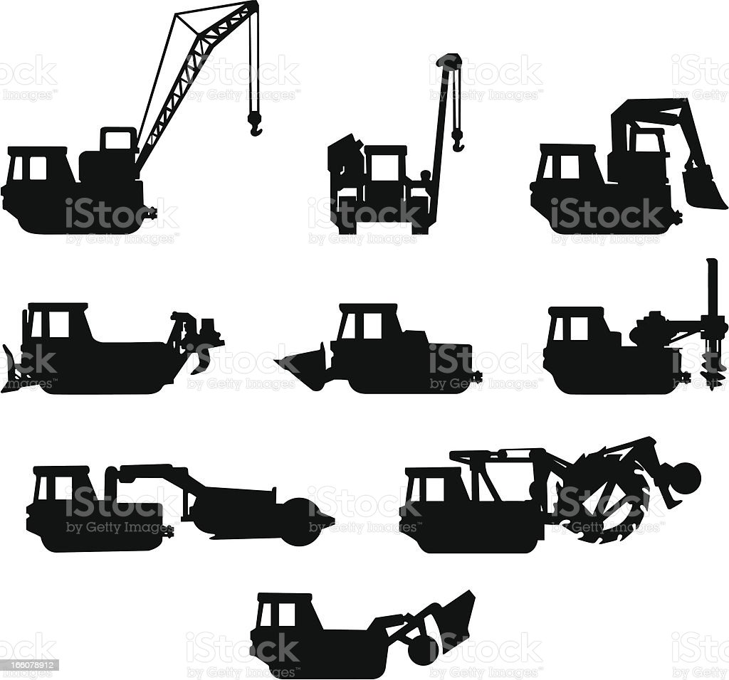 Heavy Equipment Silhouettes Stock Vector Art Amp More Images