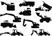 A collection of heavy equipment silhouettes. Collection consists of a track loader, wheel loader, dump truck, excavator and a backhoe.
