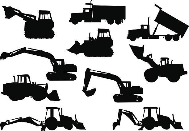 schwere ausrüstung silhouetten - bagger stock-grafiken, -clipart, -cartoons und -symbole