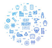 Heavy industry experts outline style symbols on modern gradient background. Line vector icons for infographics, mobile and web designs.