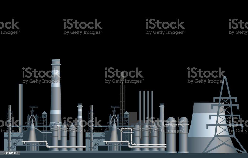 Heavy industry factory. vector art illustration
