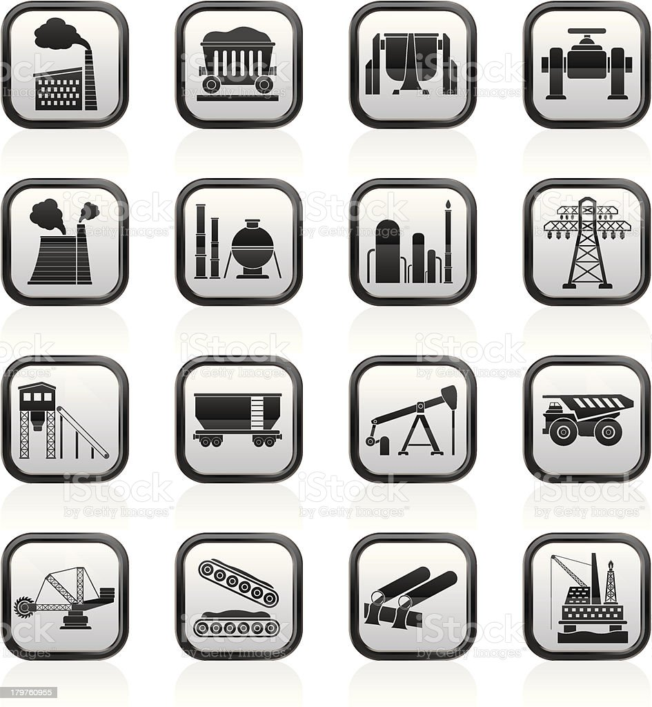 Heavy industry icons royalty-free stock vector art