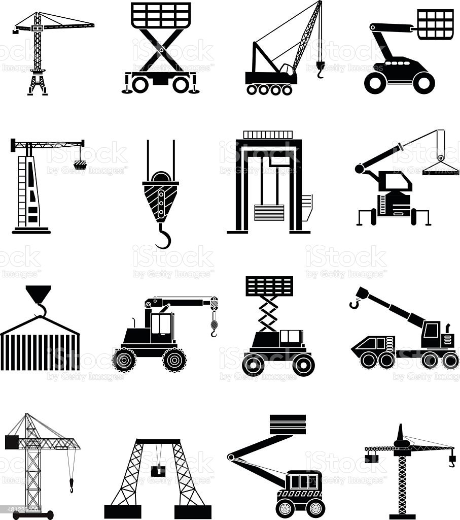 Heavy Lifting Machines Icons Set Stock Illustration