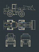 Stylized vector illustrations of Heavy loader drawings