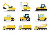 Heavy machinery flat vector illustrations set. Excavator, crane, bulldozer. Construction vehicles pack. Road roller, tractor, forklift. Industrial equipment. Fuel tanker, dump truck, concrete mixer