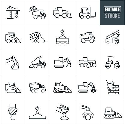 Heavy Machinery Thin Line Icons - Editable Stroke