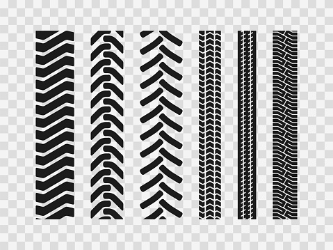 Heavy machinery tires track patterns