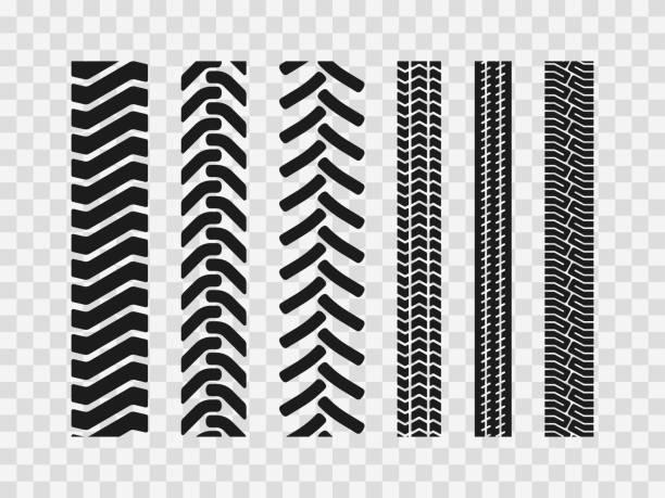 ilustraciones, imágenes clip art, dibujos animados e iconos de stock de los neumáticos de maquinaria pesada rastrean patrones - tires