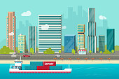 istock Heavy maritime container ship sailing in ocean or sea port with cargo containers vector, flat carton shipping transportation vessel or containership floating near city shore harbor 1074403014